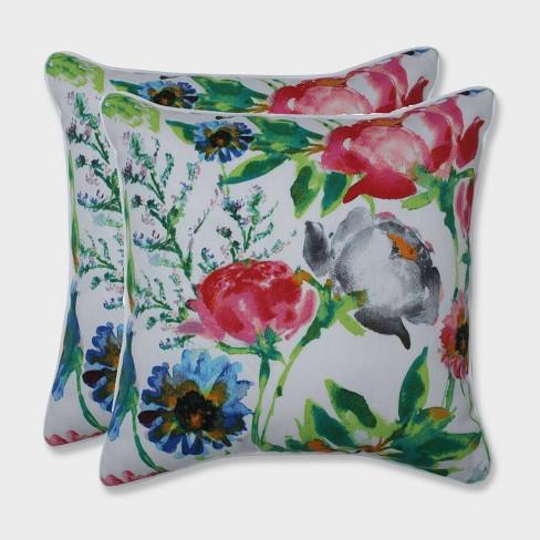 """16.5"""" 2pk Flower Mania Petunia Throw Pillows Pink - Pillow Perfect - image 1 of 1"""
