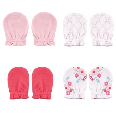 Luvable Friends Baby Girl Cotton Scratch Mittens 4pk, Floral, One Size