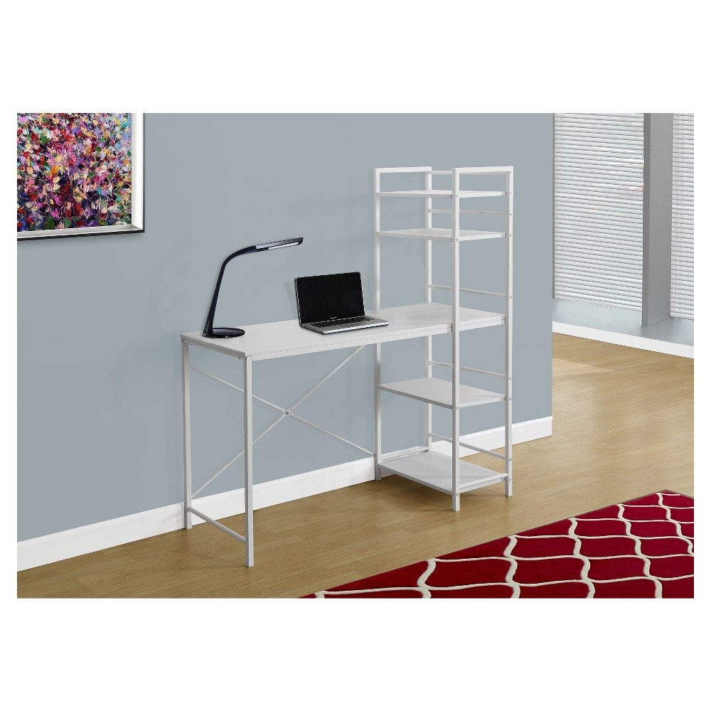 White Top Computer Desk - White Metal - EveryRoom