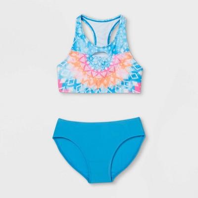 Girls' High Neck Kaleidoscope Print Bikini Set - art class™ Blue