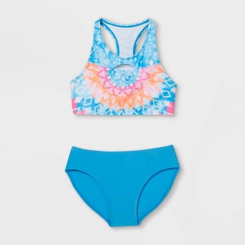 Girls' High Neck Kaleidoscope Print Bikini Set - art class™ Blue - image 1 of 2