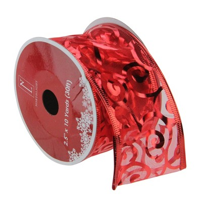 """Northlight Red Swirls Wired Christmas Craft Ribbons - 2.5"""" x 120 Yards"""