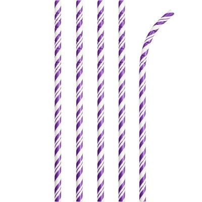 24ct Amethyst Striped Paper Straws Purple