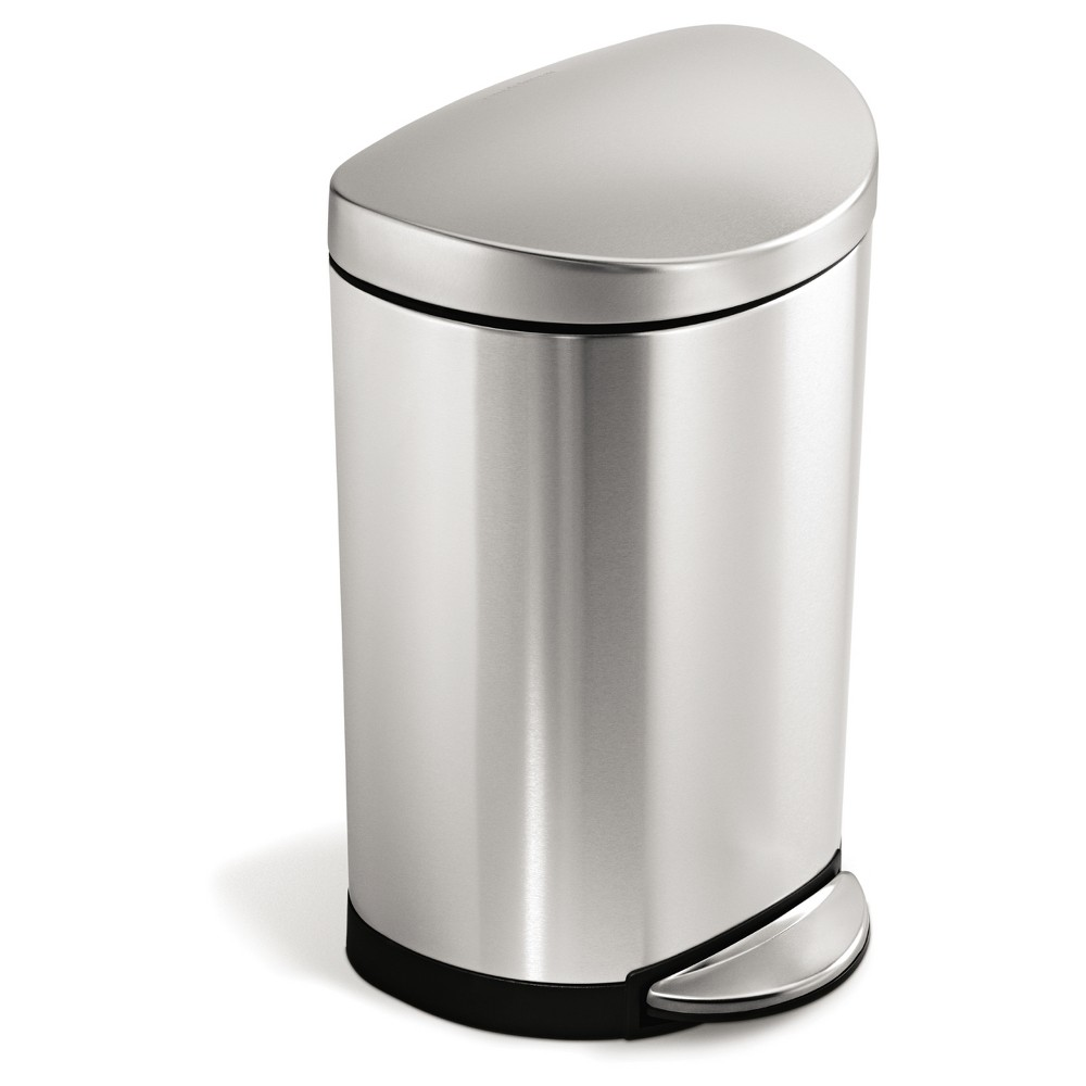Simplehuman studio 10 Liter Semi-Round Step Trash Can, Brushed Stainless Steel, Silver