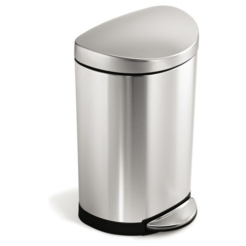 simplehuman 10 Liter Semi-Round Step Trash Can - Brushed Stainless Steel
