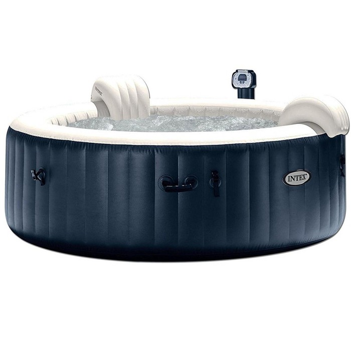 Intex Blowup Hot Tub + Headrest + Cup Holder/Tray + Seat + 2 Filter Cartridges - image 1 of 6