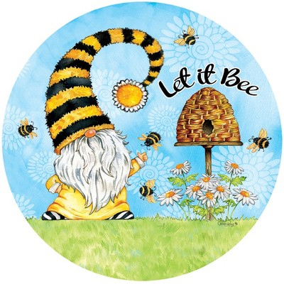 """Home & Garden 12.0"""" Gnome And Bees Stepping Stone Hive Daisies Custom Decor  -  Stepping Stones And Pathways"""