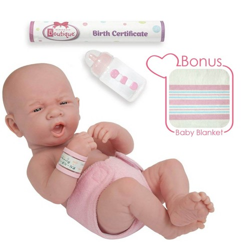 "JC Toys La Newborn 14"" Anatomically Correct Real Girl Baby Doll - ""First Yawn"". Made in Spain - image 1 of 4"
