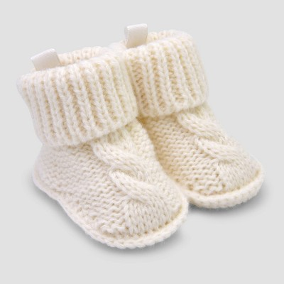 Baby Knitted Cable Slippers - Just One You® made by carter's Ivory Newborn