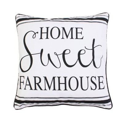 "20""x20"" 'Home Sweet Farmhouse' Oversize Square Throw Pillow Bright White - Décor Therapy"
