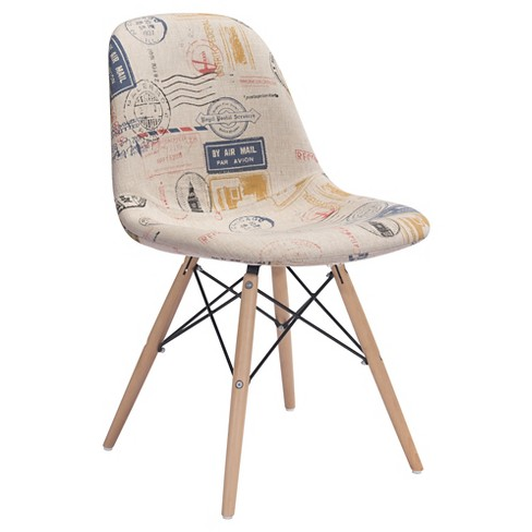 Mid-Century Modern Metal and Beechwood Dining Chair - Postage Print - ZM Home - image 1 of 5