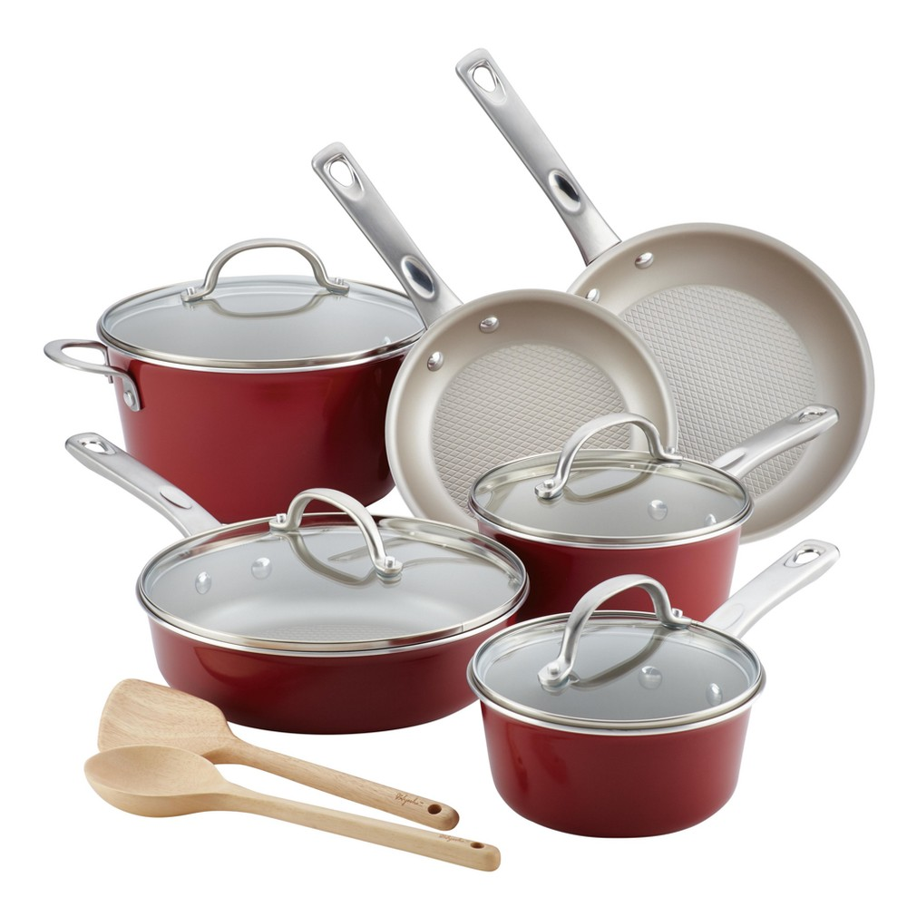 Image of Ayesha Curry 12pc Home Collection Porcelain Enamel Nonstick Cookware Set, Sienna Red