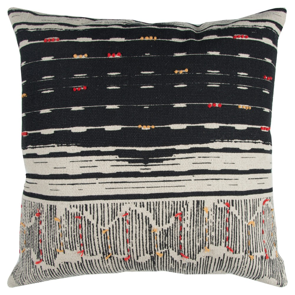 22 34 X22 34 Oversize Boho French Knot Square Throw Pillow Black Rizzy Home