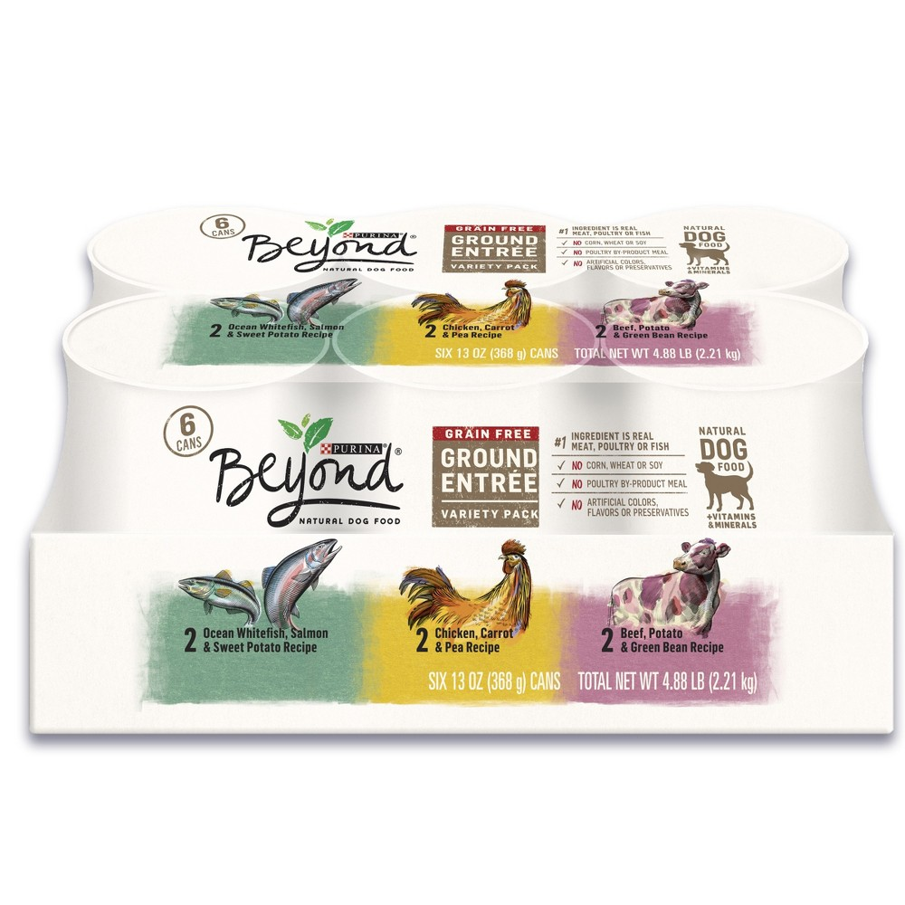 Beyond Grain Free Chicken Salmon Beef Ground Entrees Variety Pack Wet Dog Food - 13oz cans / 6ct