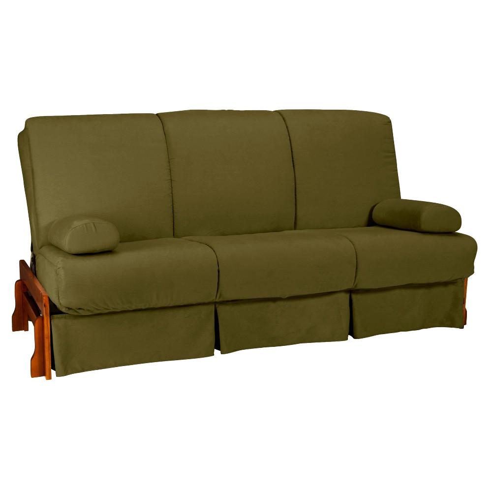 Low Arm Perfect Futon Sofa Sleeper - Walnut Wood Finish - Epic Furnishings, Matte Black