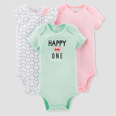 Baby Girls' 3pk Hearts Bodysuit Set - Just One You™ Made by Carter's® Mint Newborn