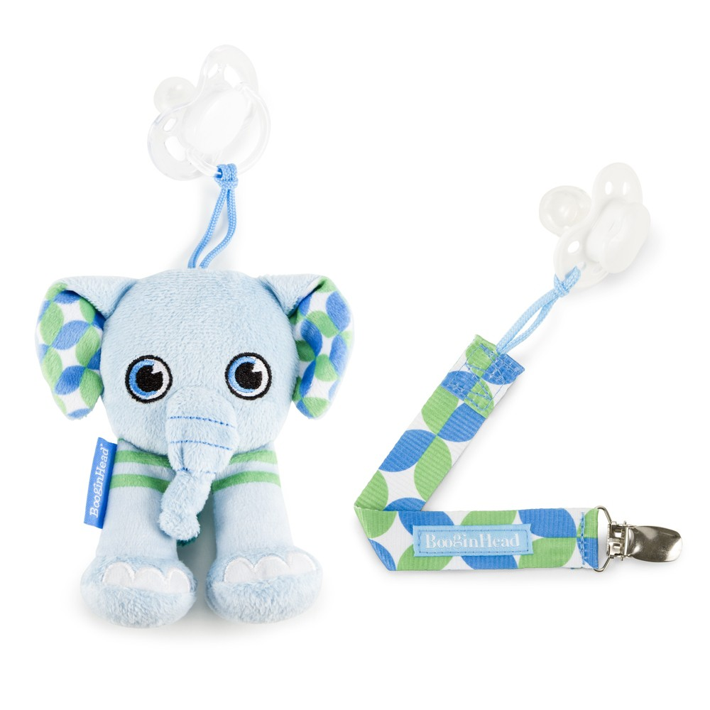 Plush PaciPal / PaciGrip Combo Set Elephant, Blue