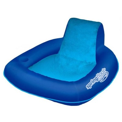 SwimWays 6060074 Spring Float SunSeat Comfortable Summertime Relaxation Lounge Seat with Cup Holder for Water Pool Lake River Ocean Pond Beach, Blue