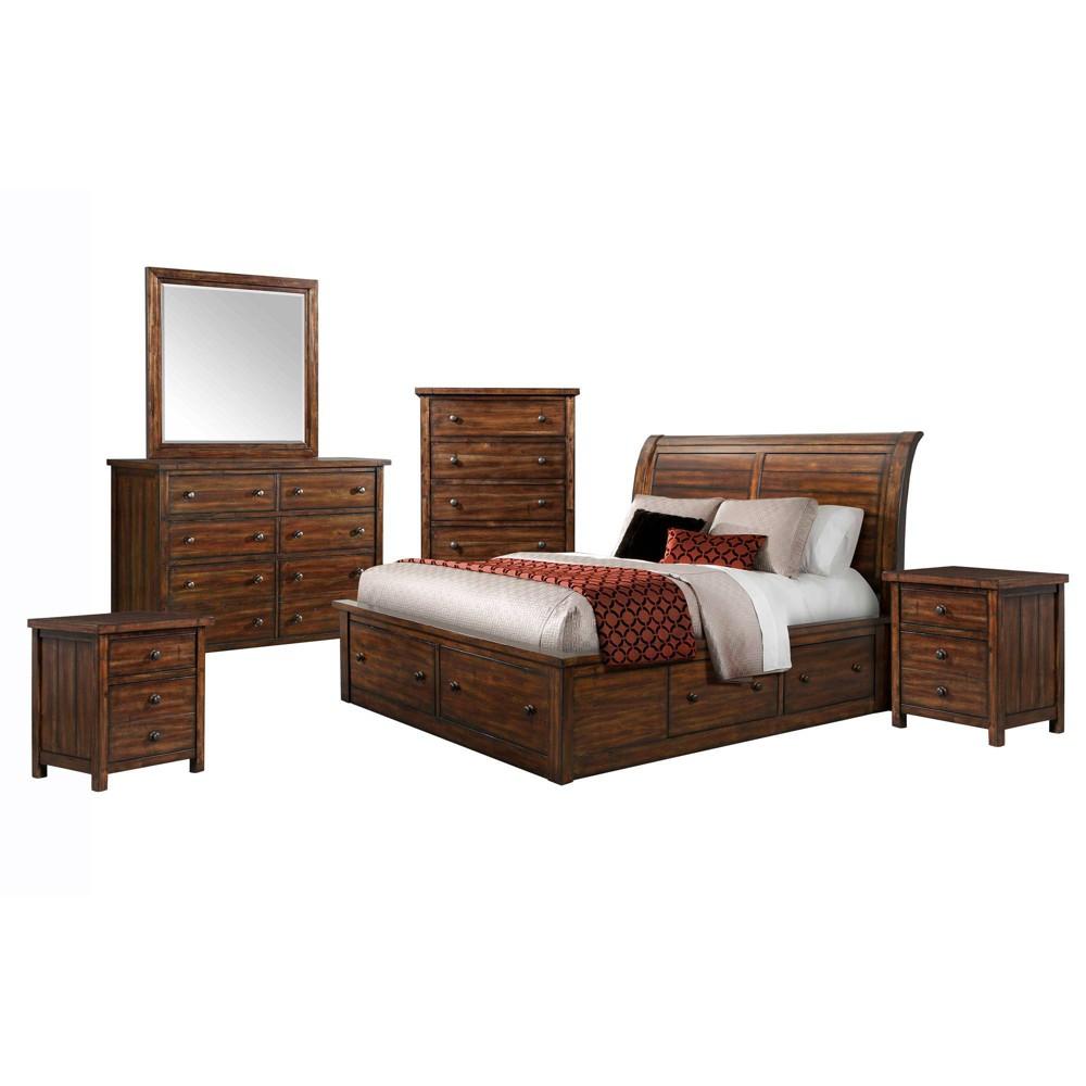 6pc King Danner Storage Bedroom Set Warm Cinnamon - Picket House Furnishings, Brown