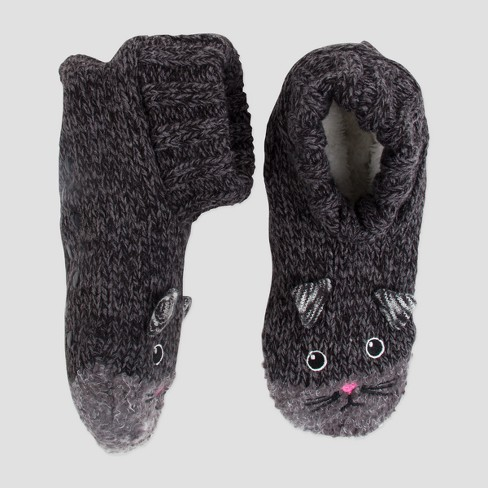 Womens Knit Slipper Socks Cat Black One Size Target