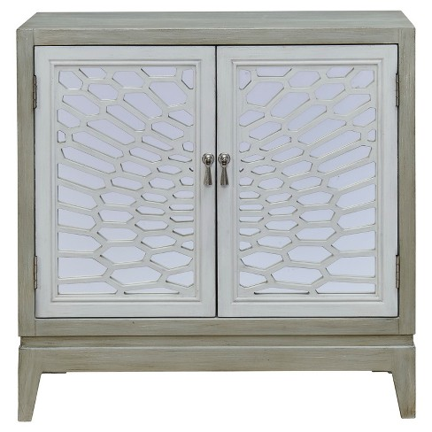 Elaine Mirrored Two Door Cabinet - Grey - Treasure Trove - image 1 of 5