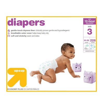 Diapers Economy Plus Pack - Size 3 - 228ct - Up&Up™