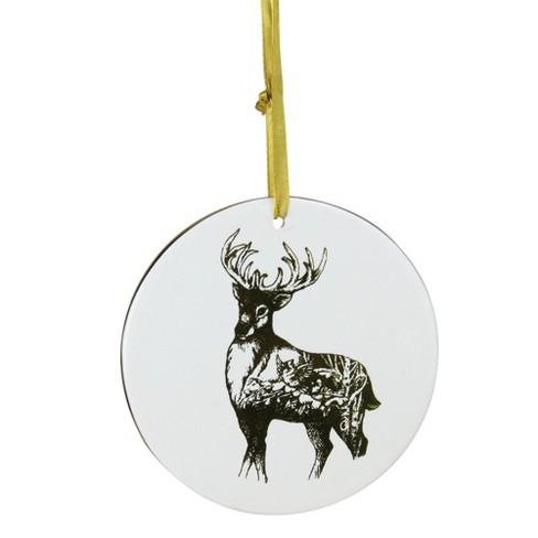 "Kurt S. Adler 4"" Woodland Reindeer Disc Christmas Ornament - Gold/Ivory - image 1 of 3"