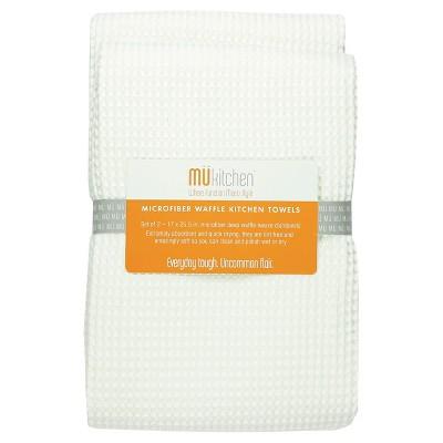 2pk Waffle Microfiber Kitchen Towel - MU Kitchen