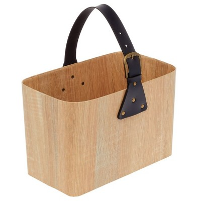 mDesign Rectangle Portable Basket with Attached Handle - Natural