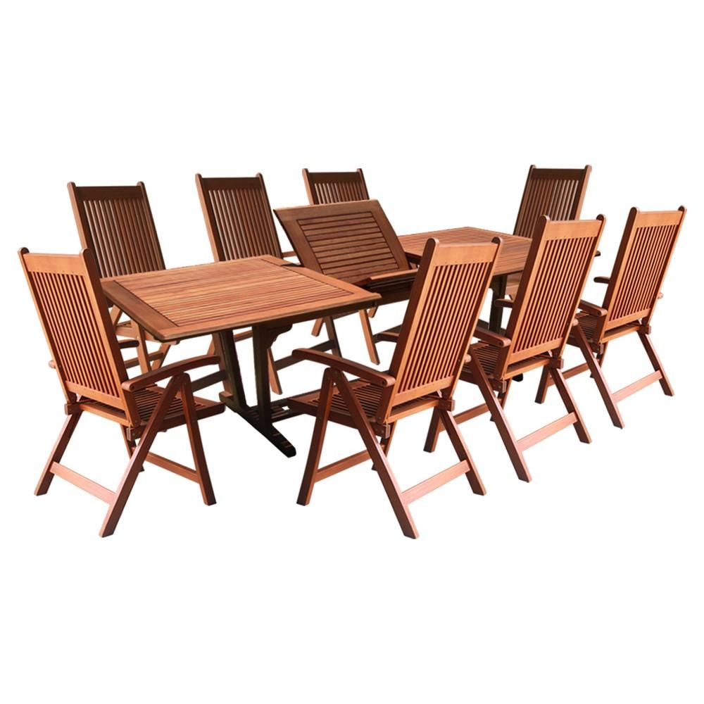 Vifah 9-Piece Outdoor Wood Dining Set with Rectangular Table - Brown