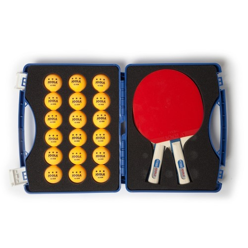 Joola Competition Table Tennis Tour Case (Includes Two Python Rackets and 18 3 Star Balls), Multi-Colored
