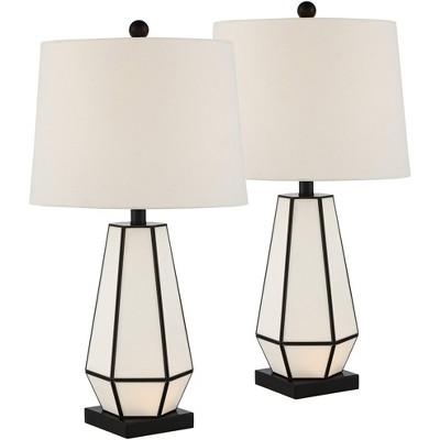 360 Lighting Modern Table Lamps Set of 2 with Night Light Bronze Geometric White Glass Drum Shade Decor Living Room Bedroom House