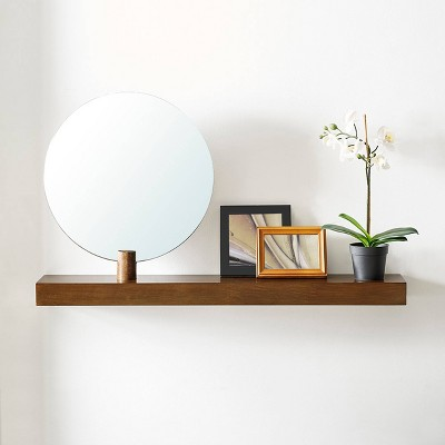 "18.5"" Amia Wall Mount Mirror With Shelf Dark Sienna - Aiden Lane"