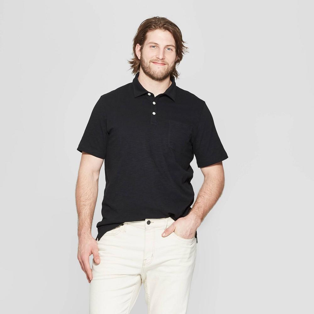 954d834d2b0 Mens Big Tall Regular Fit Short Sleeve Jersey Polo Shirt Goodfellow Co  Black 5XBT