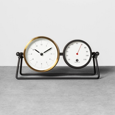 Table Clock & Thermometer Black / Brass - Hearth & Hand™ with Magnolia