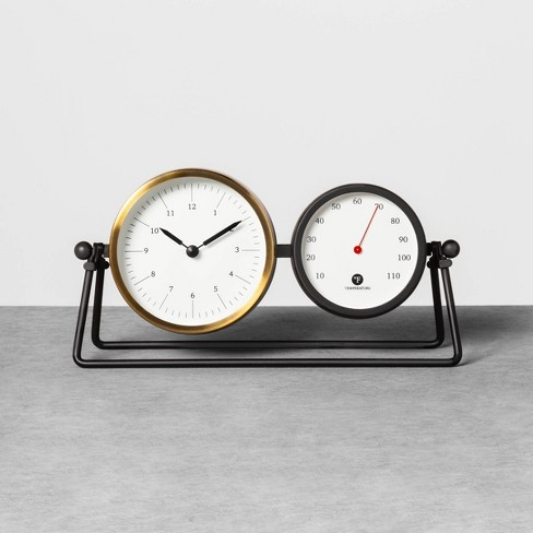 Table Clock & Thermometer Black / Brass - Hearth & Hand™ with Magnolia - image 1 of 5
