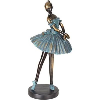 "Dahlia Studios Ballerina 12"" High Decorative Sculpture in Verde Bronze"