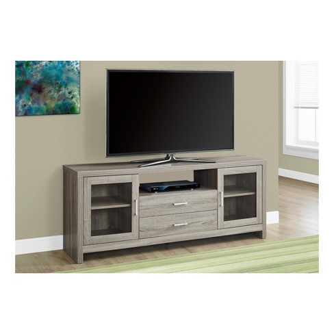 Tv Stand With Glass Doors Dark Taupe Everyroom Target