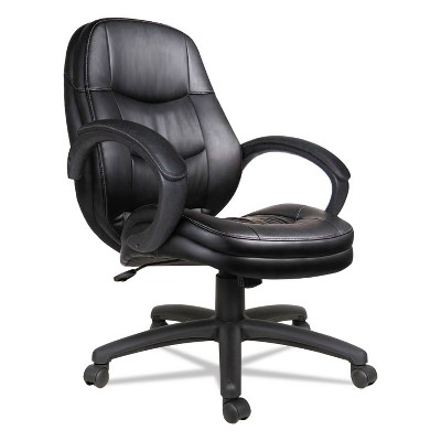 Alera PF Series Mid-Back Leather Office Chair, Black Leather, Black Frame PF4219