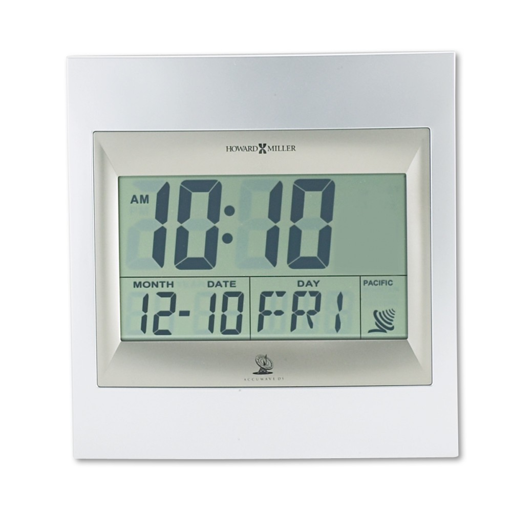 """Image of """"Howard Miller TechTime II Radio-Controlled Lcd Wall/Table Alarm Clock, 8-3/4W x 1""""""""D x 9-1/4""""""""H, Silver"""""""