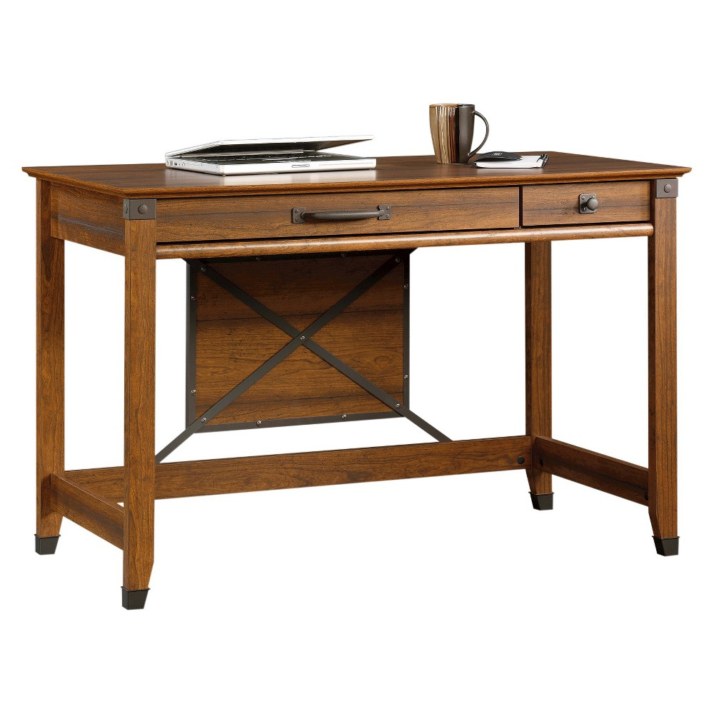 Image of Carson Forge Writing Desk with Slide Out Keyboard Shelf - Washington Cherry - Sauder, Red