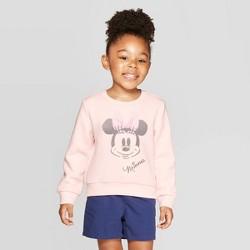 Toddler Girls' Minnie Mouse Fleece Crewneck Sweatshirt - Light Coral