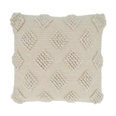 "18""x18"" Diamond Design with Pom Poms Square Throw Pillow Cover Ivory - Saro Lifestyle"
