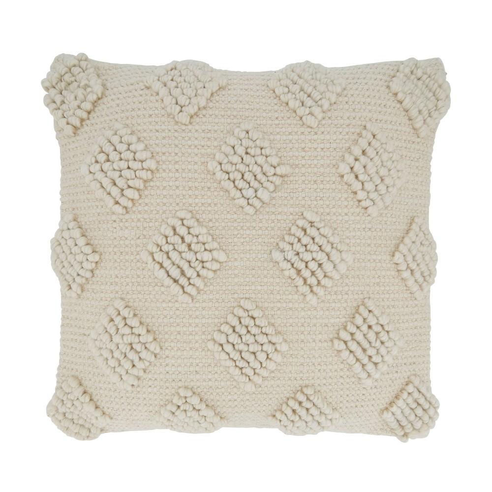 18 34 X18 34 Diamond Design With Pom Poms Square Throw Pillow Cover Ivory Saro Lifestyle