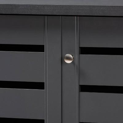 3 Door Adalwin Wooden Entryway Shoe Storage Cabinet Gray - Baxton Studio : Target