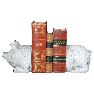 Terra Cotta Pig Bookends Antique - White (5-1/4 )