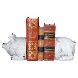 "Terra Cotta Pig Bookends Antique - White (5-1/4"")"