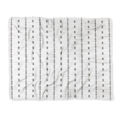 "60""X50"" Holli Zollinger French Geometric Stripe Throw Blanket Black - Deny Designs"