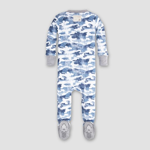 2b3cb6f48 Burt s Bees Baby Boys  Organic Cotton Distressed Camo Sleeper - Blue ...