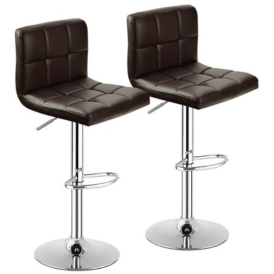 Costway Set of 2 Bar Stools Adjustable PU Leather Swivel Kitchen Counter Bar Chair Brown